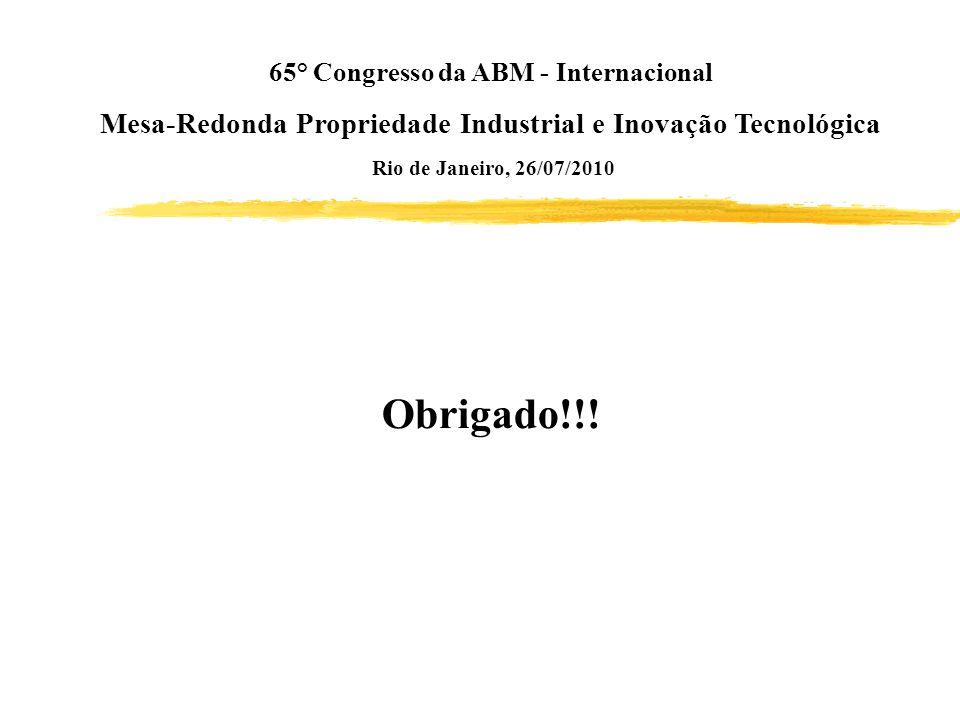 65° Congresso da ABM - Internacional Mesa-Redonda Propriedade Industrial e Inovação Tecnológica Rio de Janeiro, 26/07/2010 Obrigado!!!