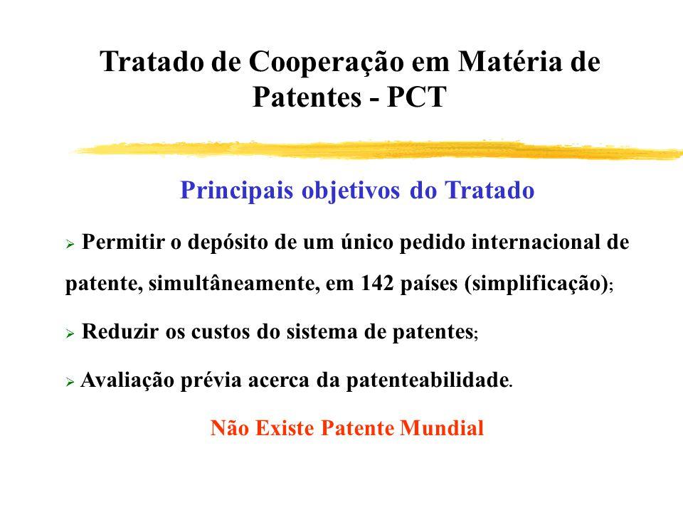 Principais objetivos do Tratado Permitir o depósito de um único pedido internacional de patente, simultâneamente, em 142 países (simplificação) ; Redu