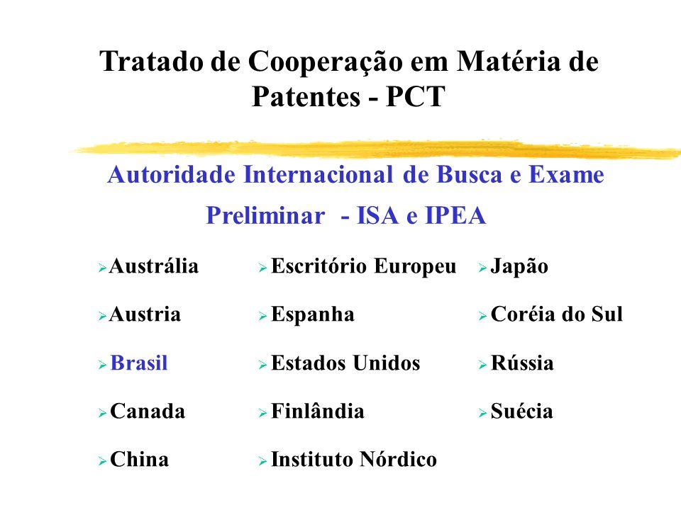 Autoridade Internacional de Busca e Exame Preliminar - ISA e IPEA Austrália Austria Brasil Canada China Escritório Europeu Espanha Estados Unidos Finl
