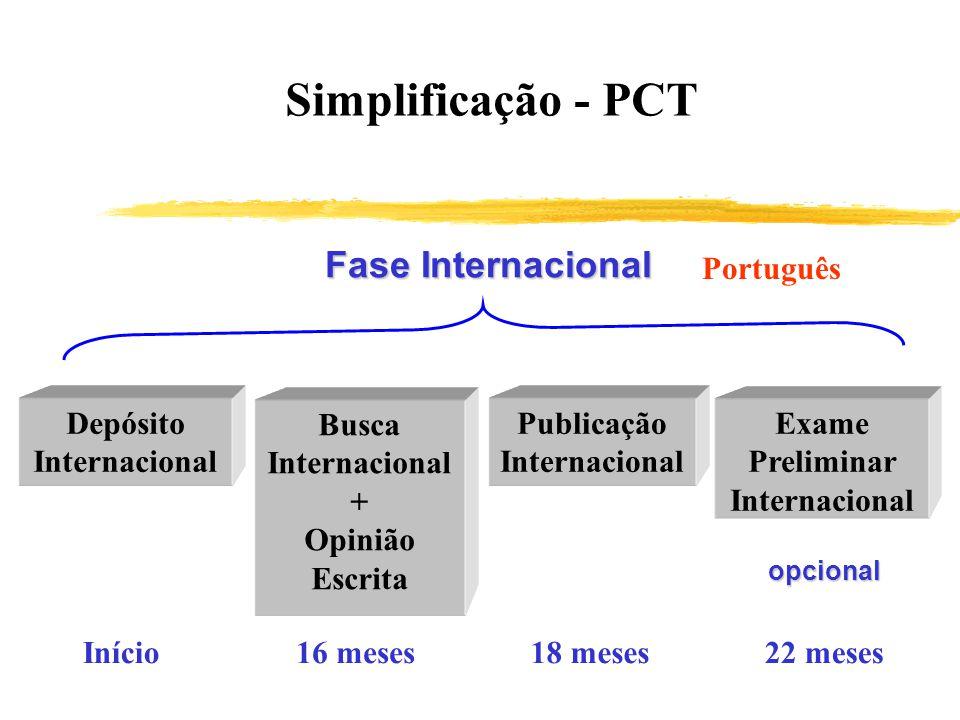 Simplificação - PCT Fase Internacional Depósito Internacional Busca Internacional + Opinião Escrita Publicação Internacional Exame Preliminar Internac