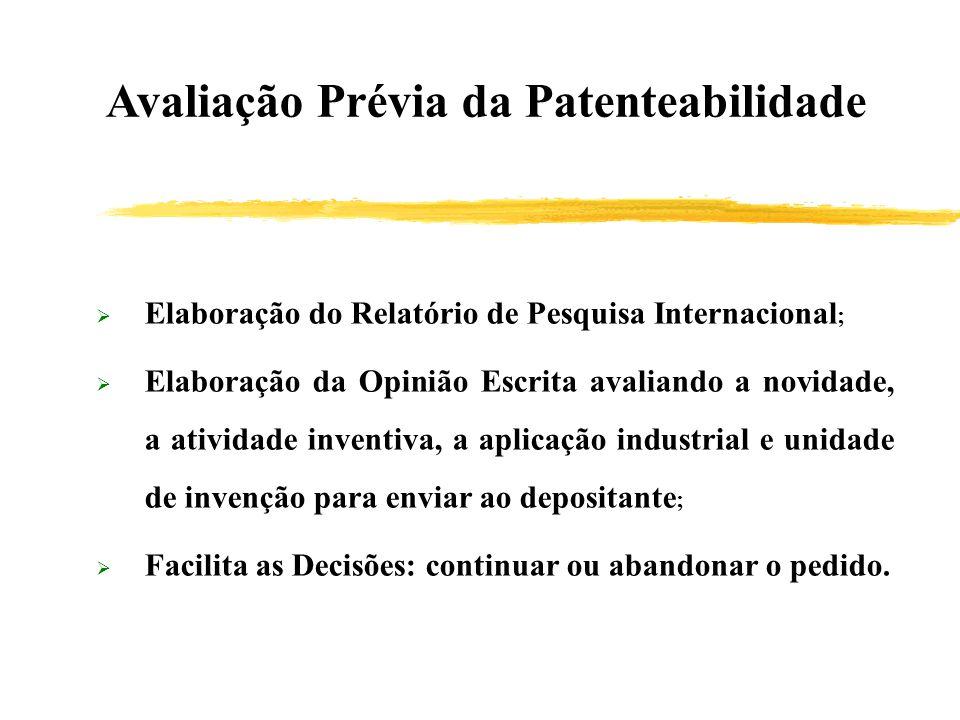Avaliação Prévia da Patenteabilidade Elaboração do Relatório de Pesquisa Internacional ; Elaboração da Opinião Escrita avaliando a novidade, a ativida