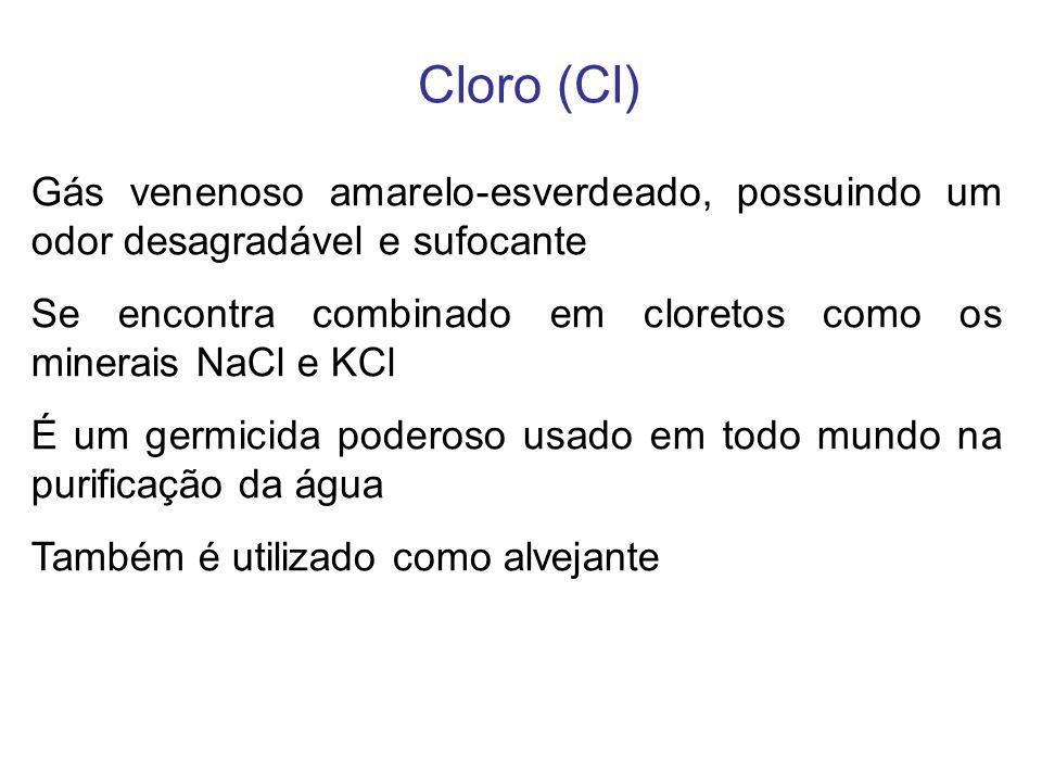 Cloro (Cl) Gás venenoso amarelo-esverdeado, possuindo um odor desagradável e sufocante Se encontra combinado em cloretos como os minerais NaCl e KCl É