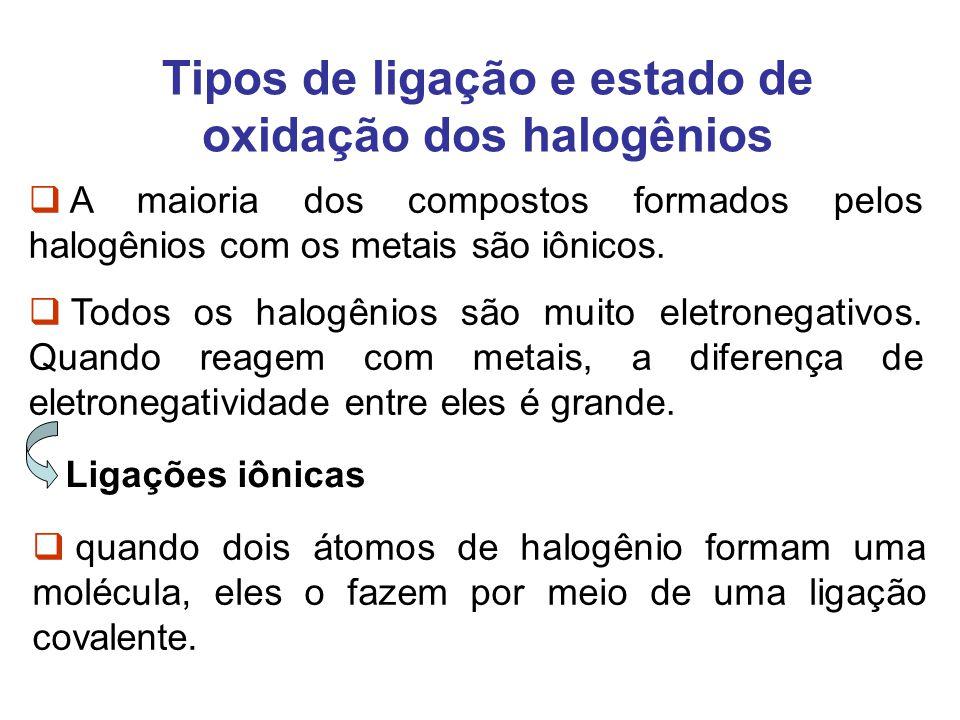 Tipos de ligação e estado de oxidação dos halogênios A maioria dos compostos formados pelos halogênios com os metais são iônicos. Todos os halogênios