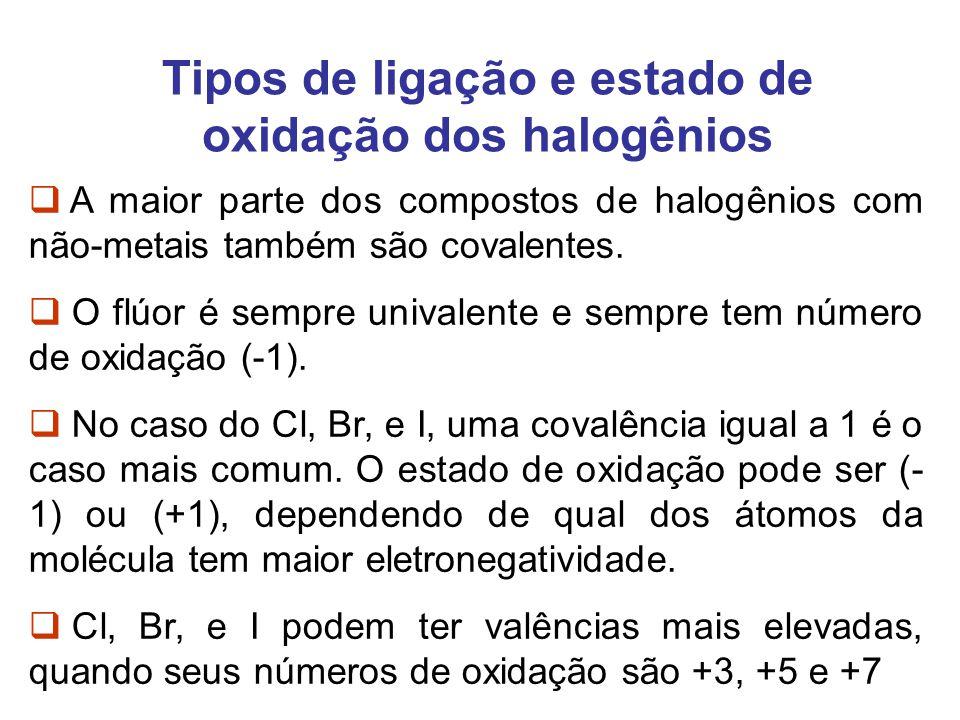 Tipos de ligação e estado de oxidação dos halogênios A maior parte dos compostos de halogênios com não-metais também são covalentes. O flúor é sempre