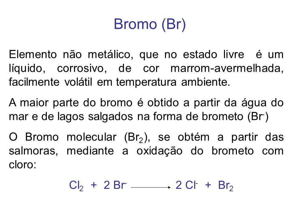 Bromo (Br) Elemento não metálico, que no estado livre é um líquido, corrosivo, de cor marrom-avermelhada, facilmente volátil em temperatura ambiente.