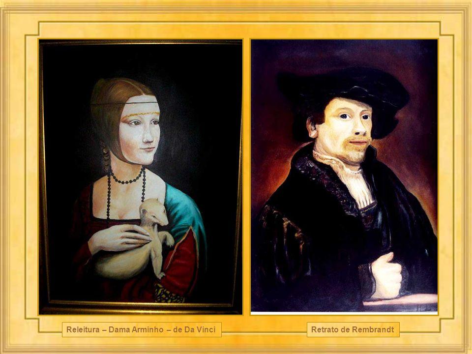 Retrato de Rembrandt Releitura – Dama Arminho – de Da Vinci