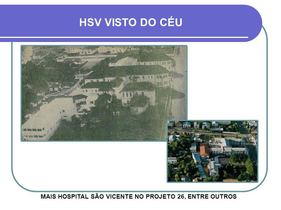 ACIMA, O PROJETO ARQUITETÔNICO INICIAL DO HOSPITAL HOSPITAL SÃO VICENTE - HSV