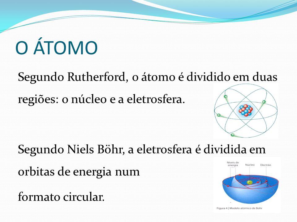 O ÁTOMO Segundo Rutherford, o átomo é dividido em duas regiões: o núcleo e a eletrosfera. Segundo Niels Böhr, a eletrosfera é dividida em orbitas de e