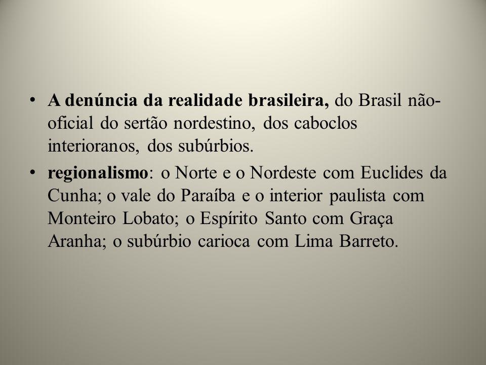 A denúncia da realidade brasileira, do Brasil não- oficial do sertão nordestino, dos caboclos interioranos, dos subúrbios. regionalismo: o Norte e o N