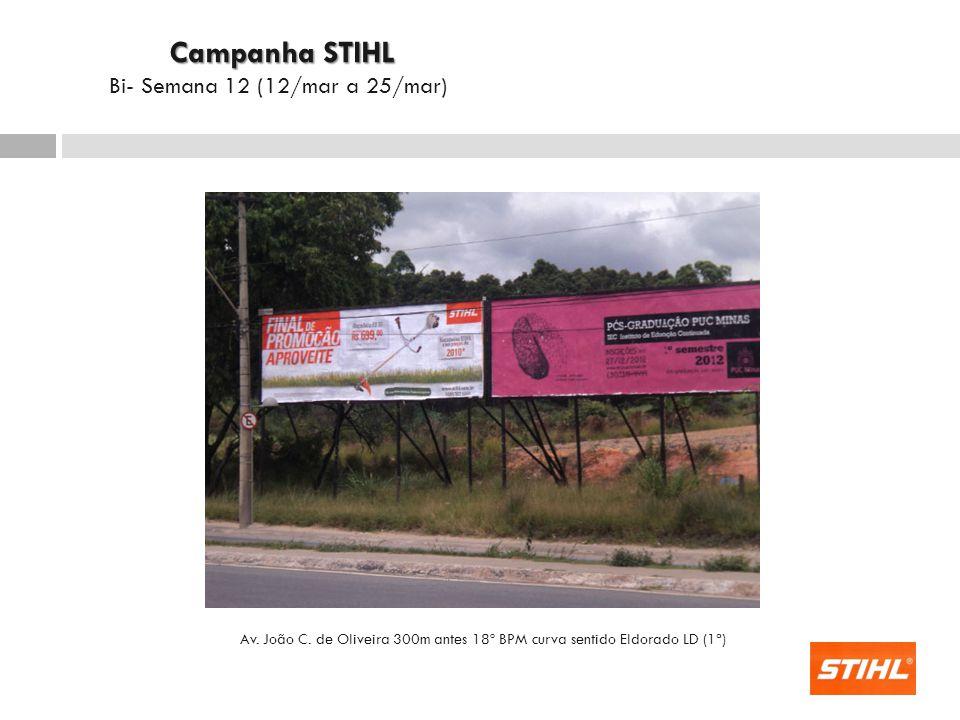 Av. João C. de Oliveira 300m antes 18º BPM curva sentido Eldorado LD (1ª) Campanha STIHL Campanha STIHL Bi- Semana 12 (12/mar a 25/mar)