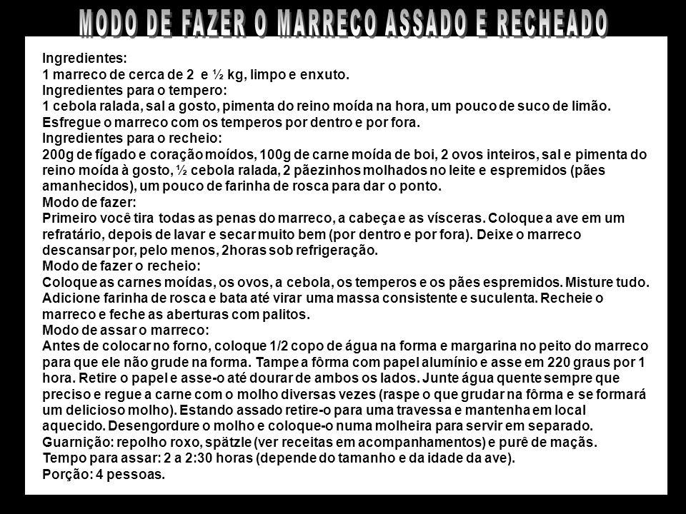 MARRECO ASSADO E RECHEADO À NOSSA MODA
