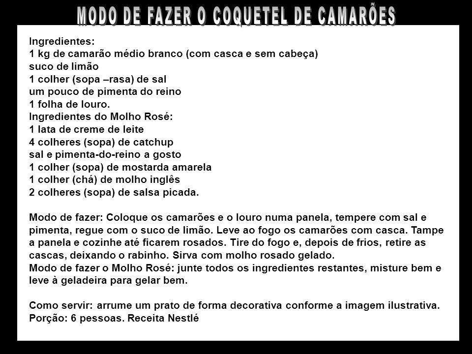 COQUETEL DE CAMARÕES GRANDES