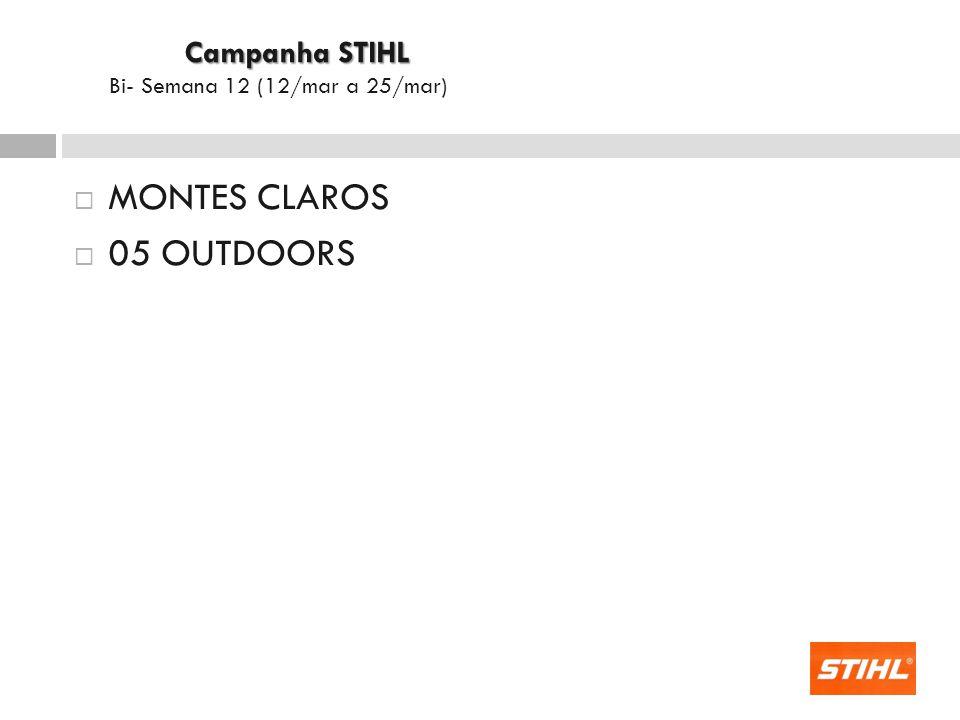 MONTES CLAROS 05 OUTDOORS Campanha STIHL Campanha STIHL Bi- Semana 12 (12/mar a 25/mar)