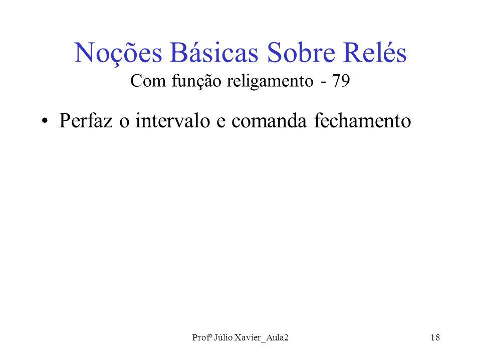 Profº Júlio Xavier_Aula218 Noções Básicas Sobre Relés Com função religamento - 79 Perfaz o intervalo e comanda fechamento