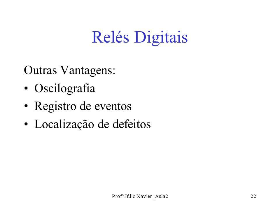 Profº Júlio Xavier_Aula222 Relés Digitais Outras Vantagens: Oscilografia Registro de eventos Localização de defeitos