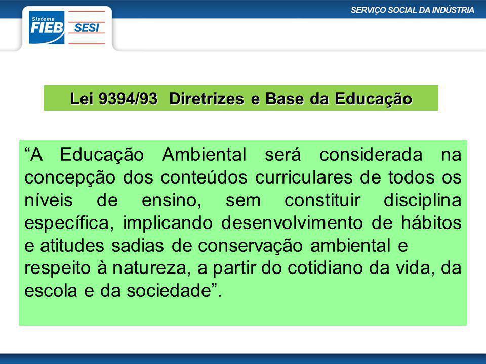 Lei 9394/93 Diretrizes e Base da Educação A Educação Ambiental será considerada na concepção dos conteúdos curriculares de todos os níveis de ensino,