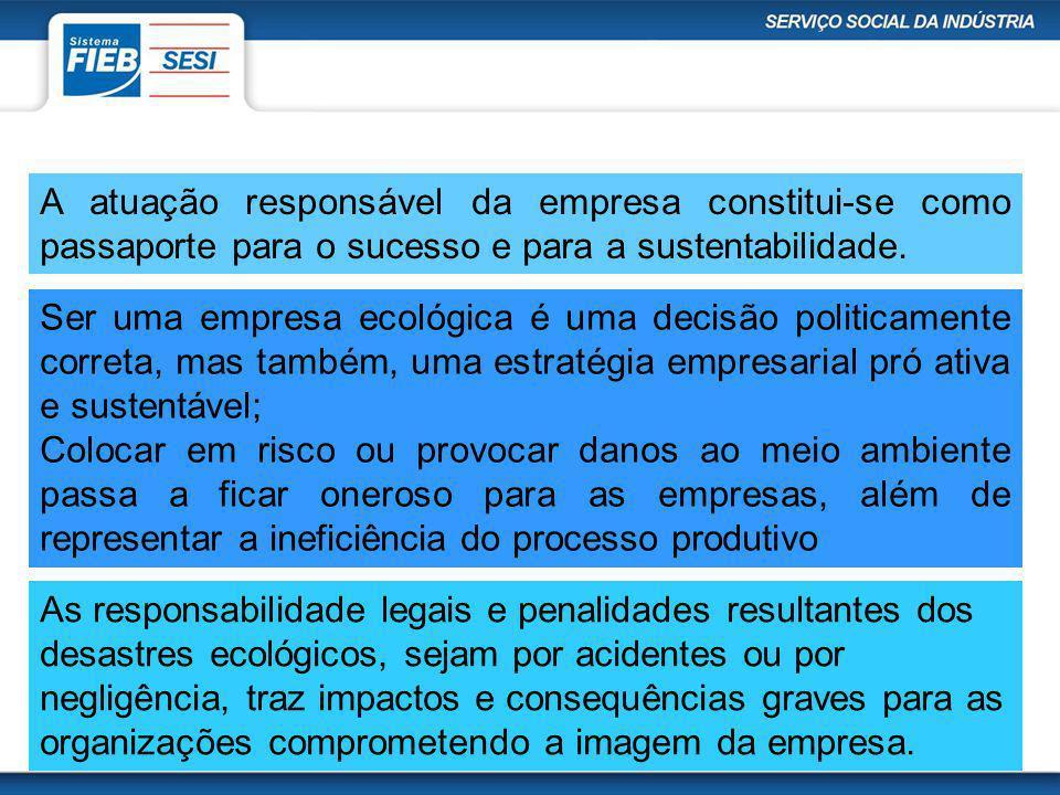 A atuação responsável da empresa constitui-se como passaporte para o sucesso e para a sustentabilidade. Ser uma empresa ecológica é uma decisão politi