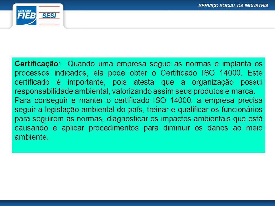 Certificação: Quando uma empresa segue as normas e implanta os processos indicados, ela pode obter o Certificado ISO 14000. Este certificado é importa