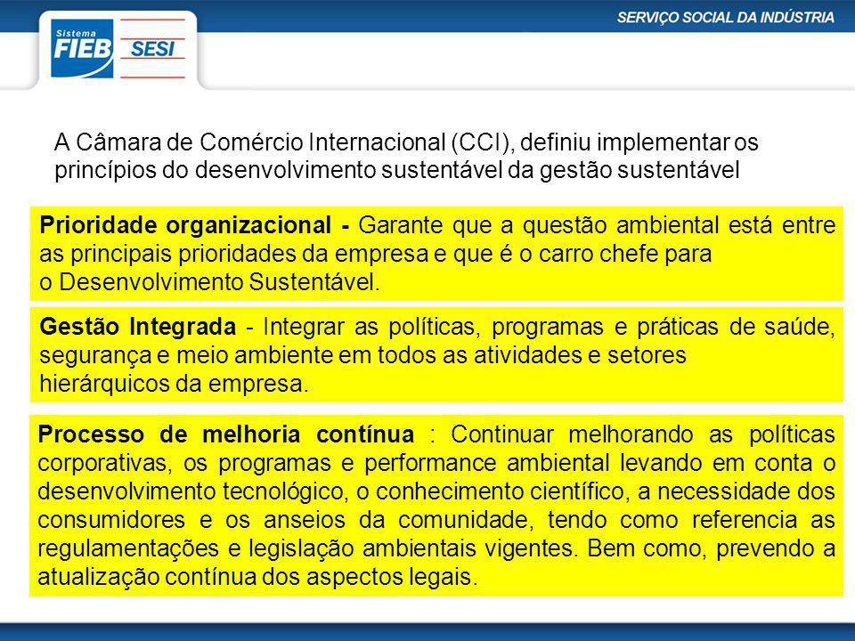 A Câmara de Comércio Internacional (CCI), definiu implementar os princípios do desenvolvimento sustentável da gestão sustentável Prioridade organizaci