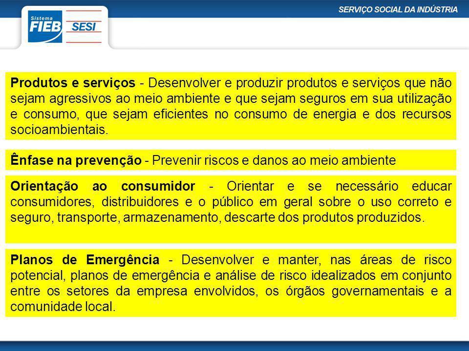 Produtos e serviços - Desenvolver e produzir produtos e serviços que não sejam agressivos ao meio ambiente e que sejam seguros em sua utilização e con