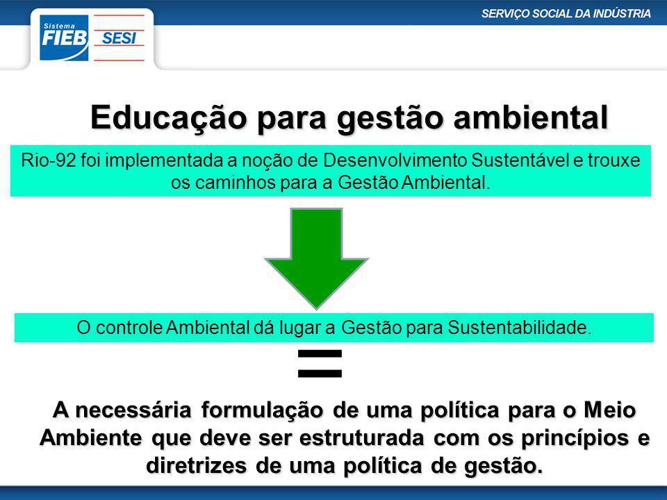 Educação para gestão ambiental Rio-92 foi implementada a noção de Desenvolvimento Sustentável e trouxe os caminhos para a Gestão Ambiental. O controle