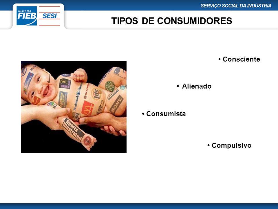 TIPOS DE CONSUMIDORES Consciente Alienado Consumista Compulsivo
