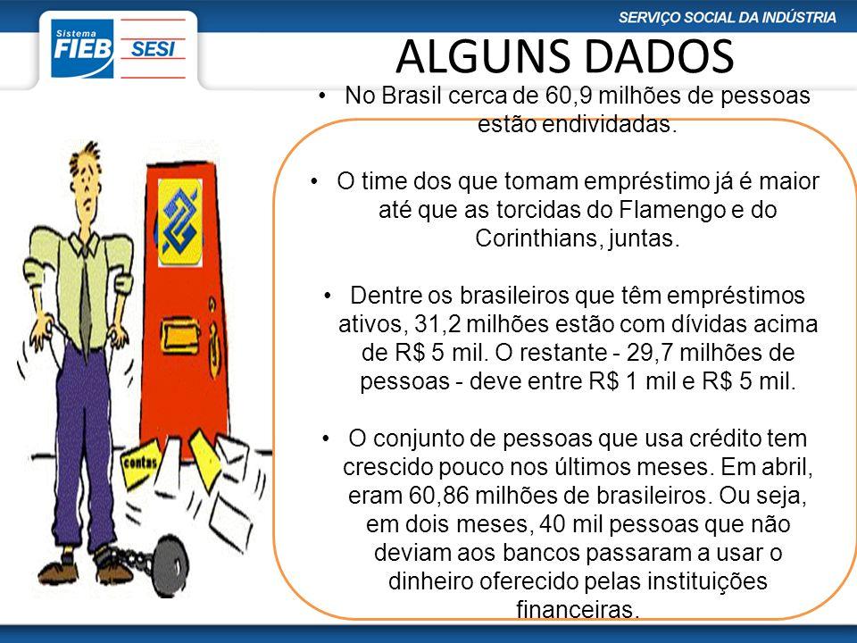ALGUNS DADOS No Brasil cerca de 60,9 milhões de pessoas estão endividadas. O time dos que tomam empréstimo já é maior até que as torcidas do Flamengo