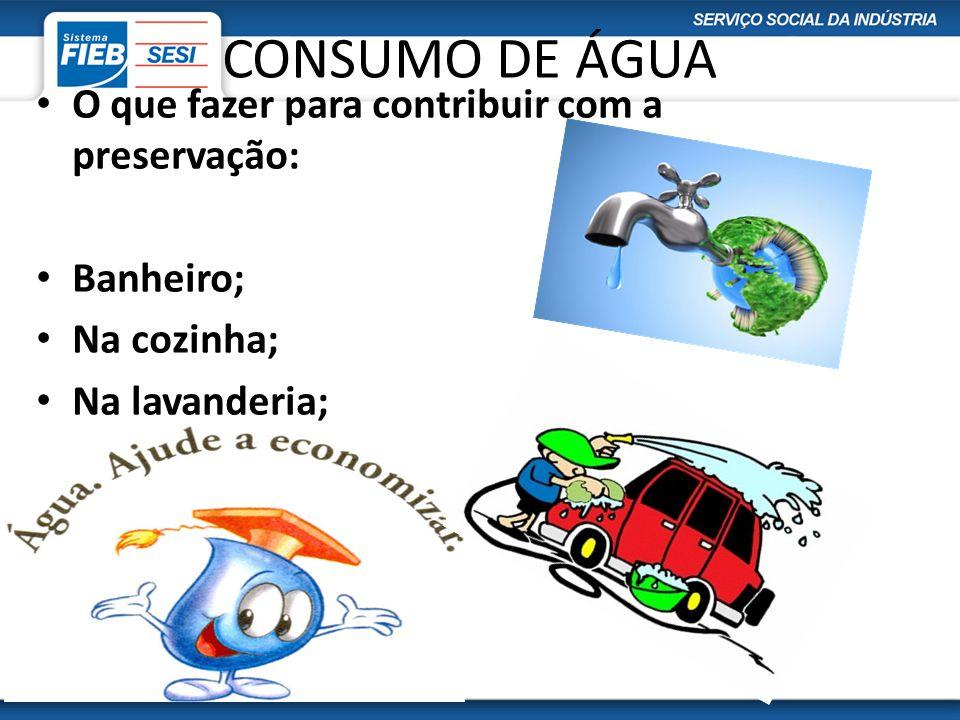 CONSUMO DE ÁGUA O que fazer para contribuir com a preservação: Banheiro; Na cozinha; Na lavanderia; No jardim; Caixa d´água; Vazamentos.