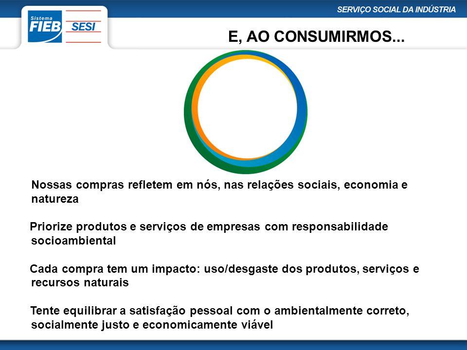 Nossas compras refletem em nós, nas relações sociais, economia e natureza Priorize produtos e serviços de empresas com responsabilidade socioambiental