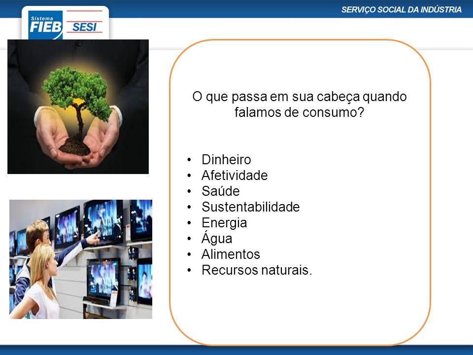 O que passa em sua cabeça quando falamos de consumo? Dinheiro Afetividade Saúde Sustentabilidade Energia Água Alimentos Recursos naturais.