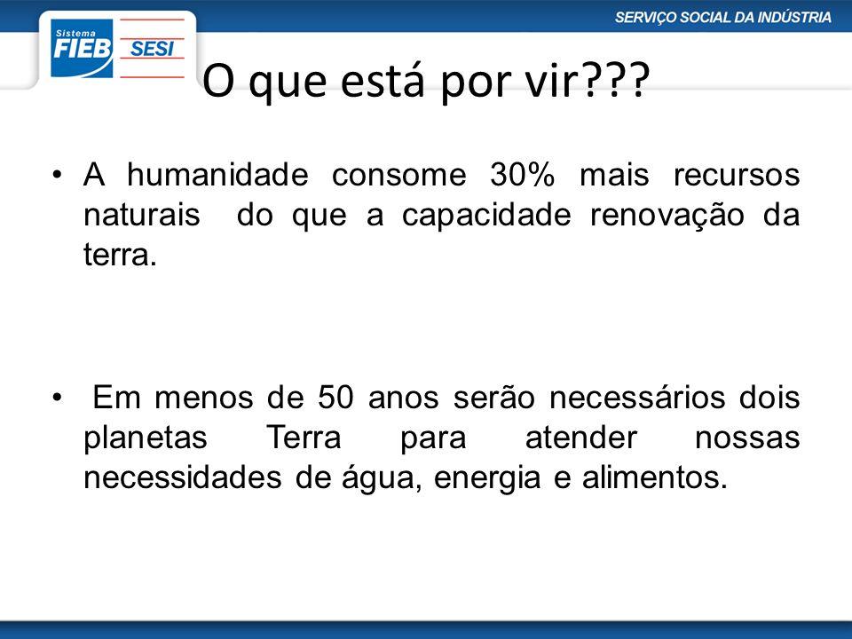O que está por vir??? A humanidade consome 30% mais recursos naturais do que a capacidade renovação da terra. Em menos de 50 anos serão necessários do