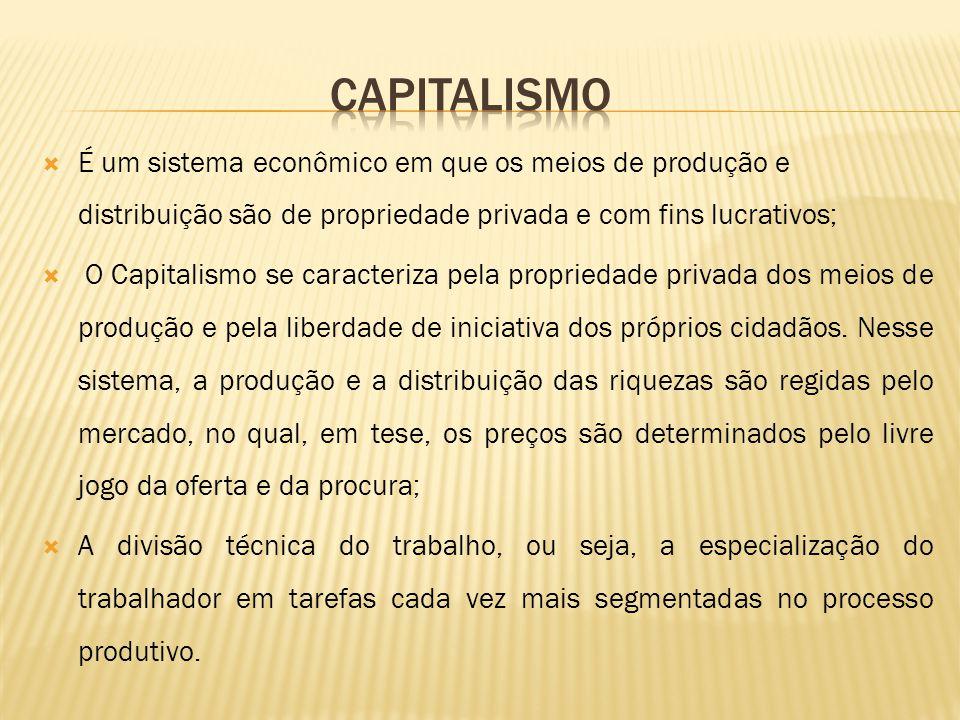 É um sistema econômico em que os meios de produção e distribuição são de propriedade privada e com fins lucrativos; O Capitalismo se caracteriza pela propriedade privada dos meios de produção e pela liberdade de iniciativa dos próprios cidadãos.