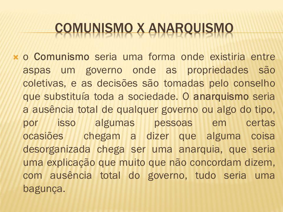 o Comunismo seria uma forma onde existiria entre aspas um governo onde as propriedades são coletivas, e as decisões são tomadas pelo conselho que substituía toda a sociedade.