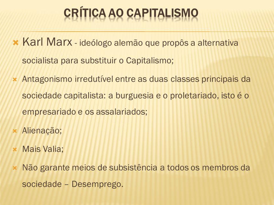 Karl Marx - ideólogo alemão que propôs a alternativa socialista para substituir o Capitalismo; Antagonismo irredutível entre as duas classes principais da sociedade capitalista: a burguesia e o proletariado, isto é o empresariado e os assalariados; Alienação; Mais Valia; Não garante meios de subsistência a todos os membros da sociedade – Desemprego.