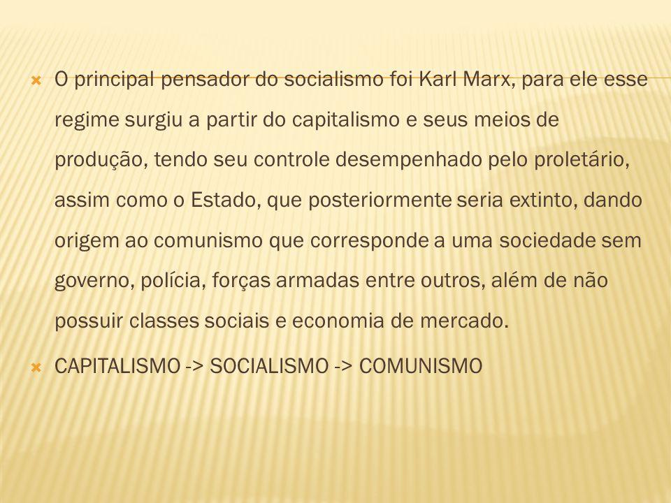 O principal pensador do socialismo foi Karl Marx, para ele esse regime surgiu a partir do capitalismo e seus meios de produção, tendo seu controle desempenhado pelo proletário, assim como o Estado, que posteriormente seria extinto, dando origem ao comunismo que corresponde a uma sociedade sem governo, polícia, forças armadas entre outros, além de não possuir classes sociais e economia de mercado.