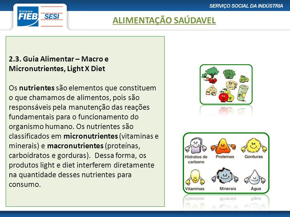 2.3. Guia Alimentar – Macro e Micronutrientes, Light X Diet Os nutrientes são elementos que constituem o que chamamos de alimentos, pois são responsáv
