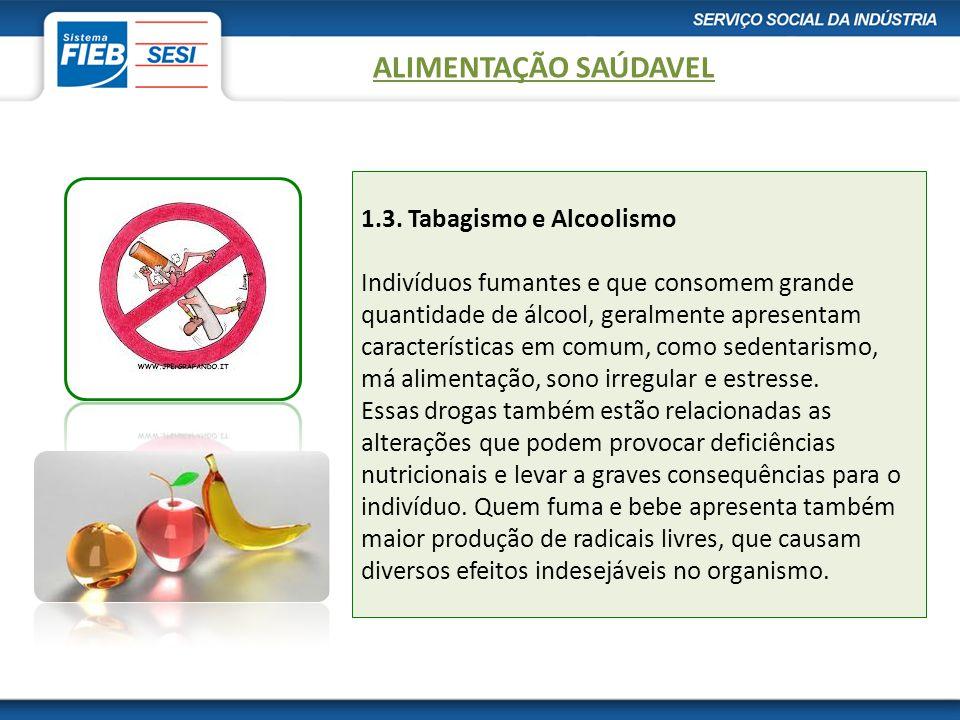 1.3. Tabagismo e Alcoolismo Indivíduos fumantes e que consomem grande quantidade de álcool, geralmente apresentam características em comum, como seden