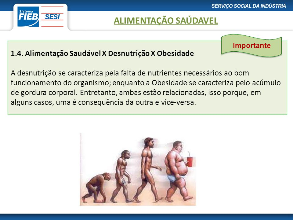1.4. Alimentação Saudável X Desnutrição X Obesidade A desnutrição se caracteriza pela falta de nutrientes necessários ao bom funcionamento do organism