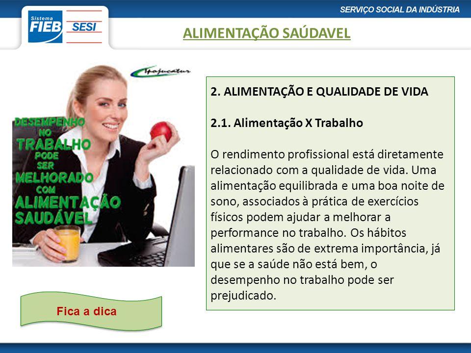 2.ALIMENTAÇÃO E QUALIDADE DE VIDA 2.1.