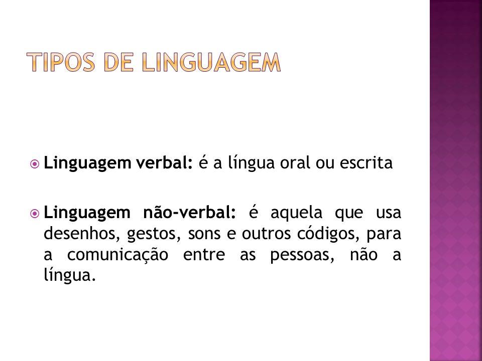 Linguagem verbal: é a língua oral ou escrita Linguagem não-verbal: é aquela que usa desenhos, gestos, sons e outros códigos, para a comunicação entre