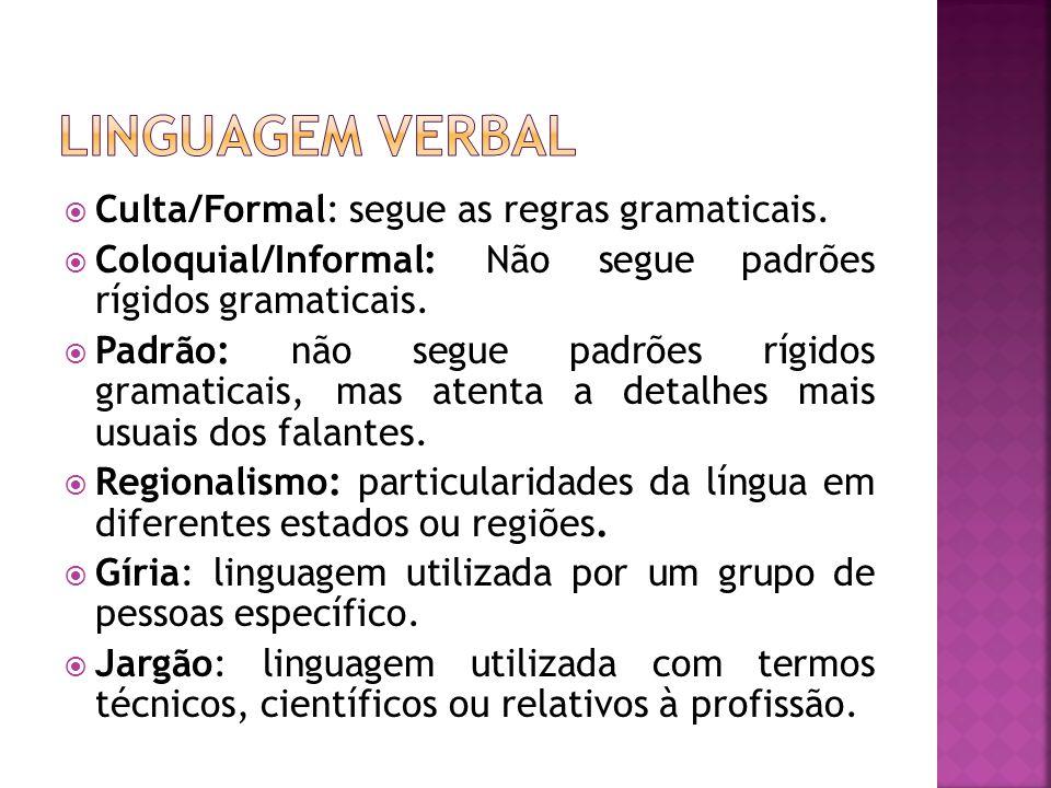 Culta/Formal: segue as regras gramaticais. Coloquial/Informal: Não segue padrões rígidos gramaticais. Padrão: não segue padrões rígidos gramaticais, m