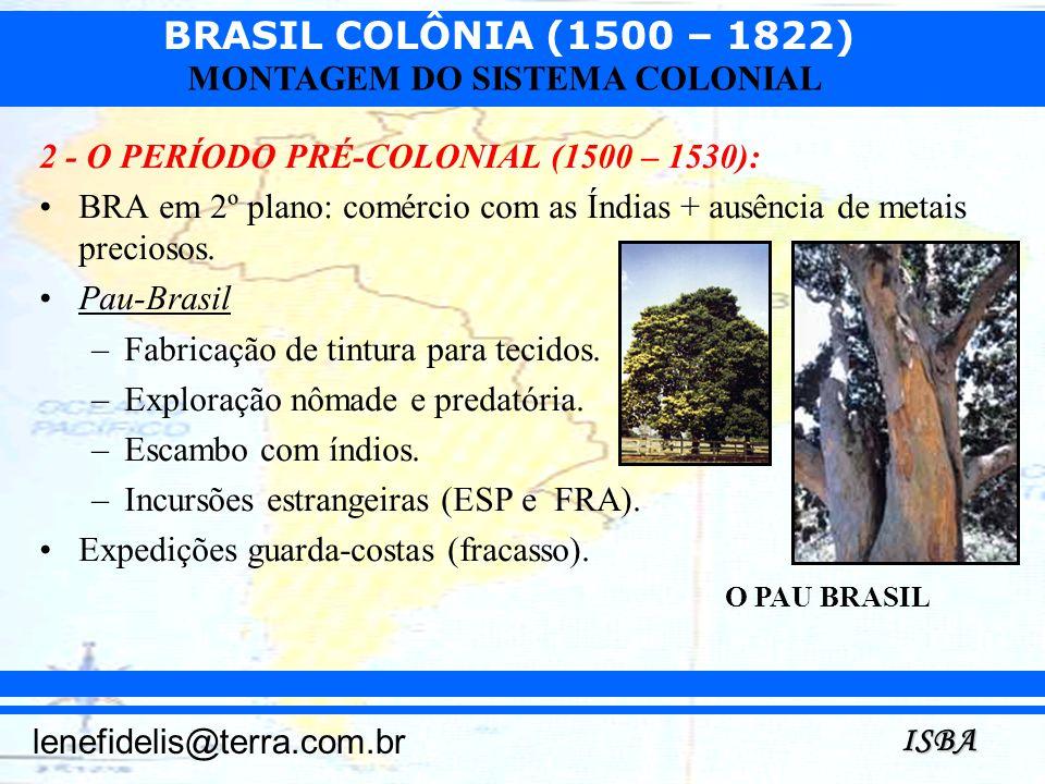 BRASIL COLÔNIA (1500 – 1822) ISBA lenefidelis@terra.com.br MONTAGEM DO SISTEMA COLONIAL 2 - O PERÍODO PRÉ-COLONIAL (1500 – 1530): BRA em 2º plano: com