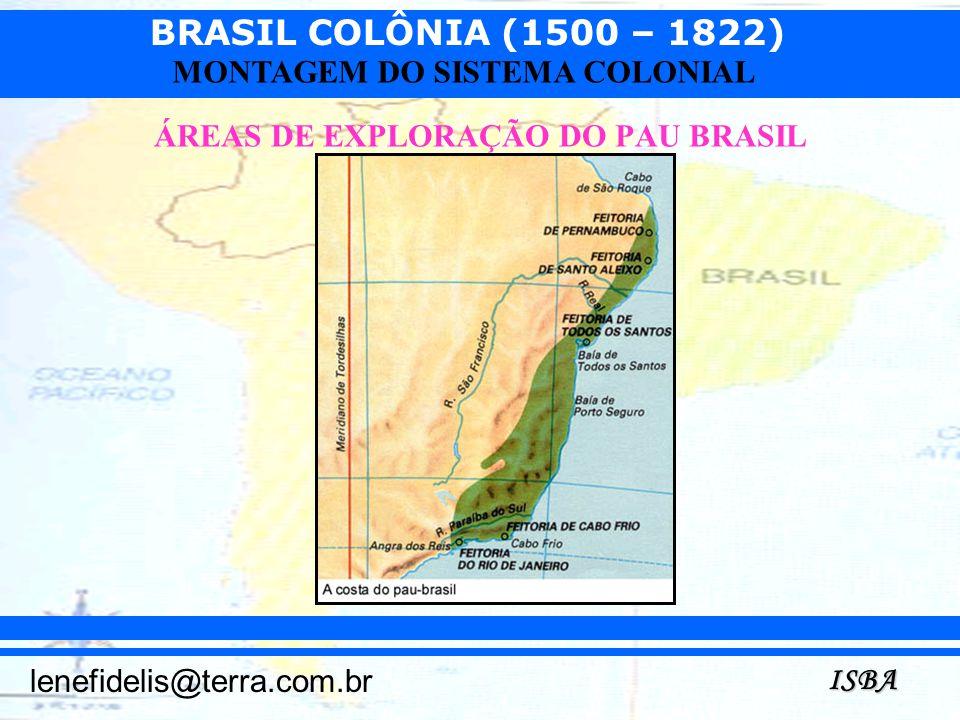 BRASIL COLÔNIA (1500 – 1822) ISBA lenefidelis@terra.com.br MONTAGEM DO SISTEMA COLONIAL ÁREAS DE EXPLORAÇÃO DO PAU BRASIL
