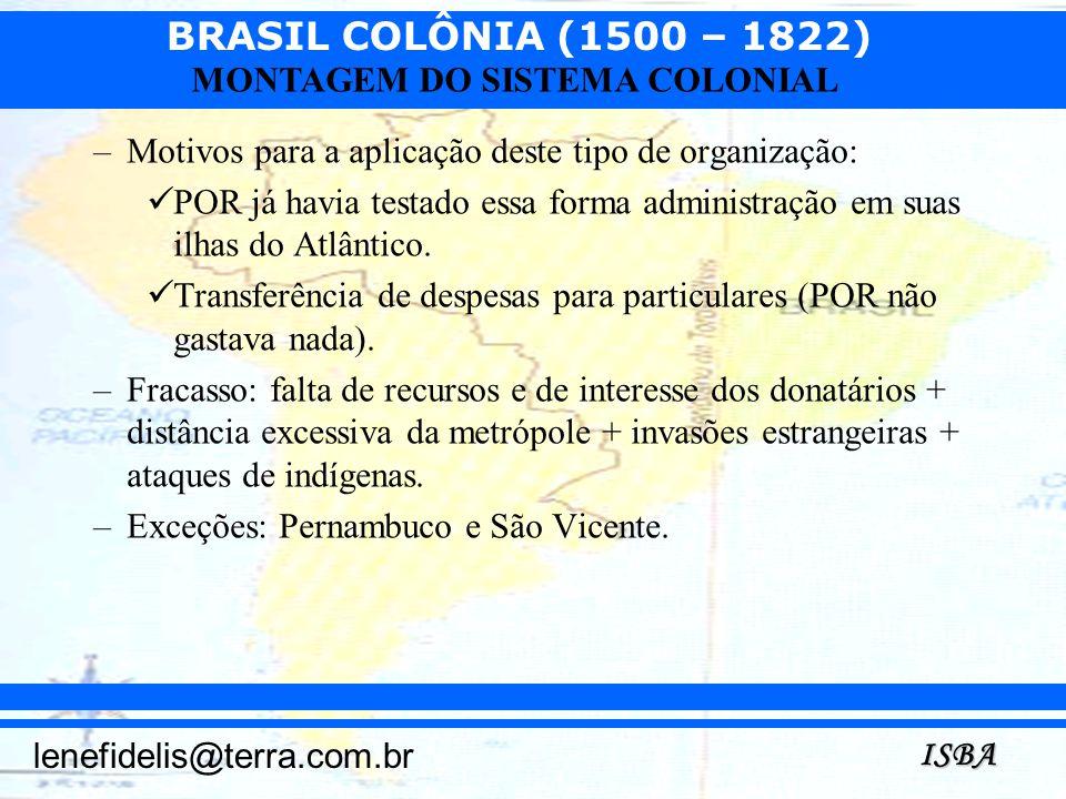 BRASIL COLÔNIA (1500 – 1822) ISBA lenefidelis@terra.com.br MONTAGEM DO SISTEMA COLONIAL –Motivos para a aplicação deste tipo de organização: POR já ha