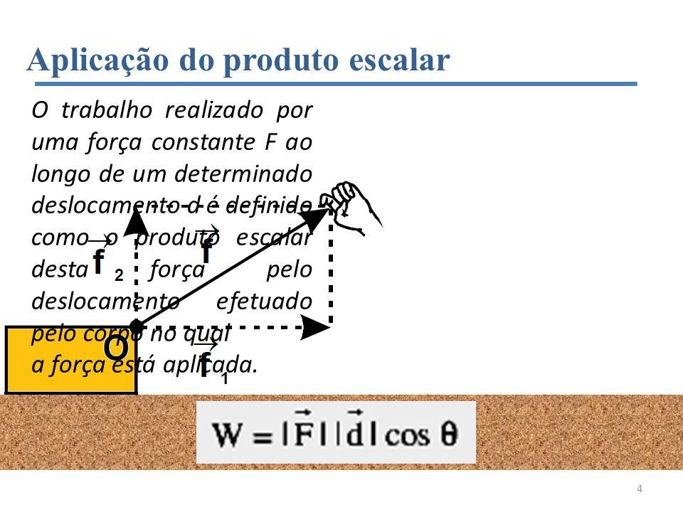 Aplicação do produto escalar O trabalho realizado por uma força constante F ao longo de um determinado deslocamento d é definido como o produto escala