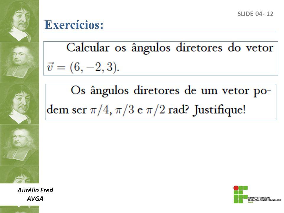 Aurélio Fred AVGA SLIDE 04- 12 Exercícios: