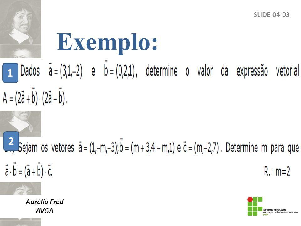 SLIDE 04-03 Aurélio Fred AVGA Exemplo: 1 2