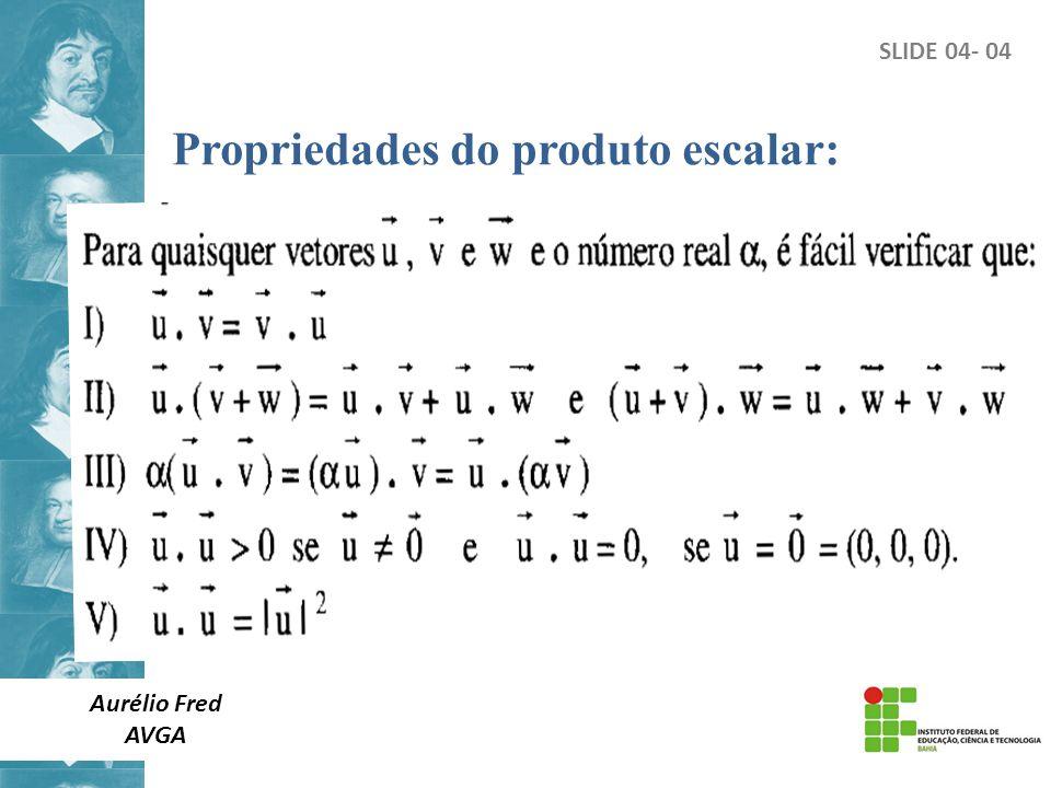 SLIDE 04- 04 Propriedades do produto escalar: Aurélio Fred AVGA