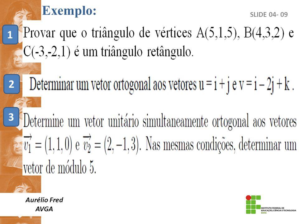 SLIDE 04- 09 Aurélio Fred AVGA Exemplo: 1 2 3