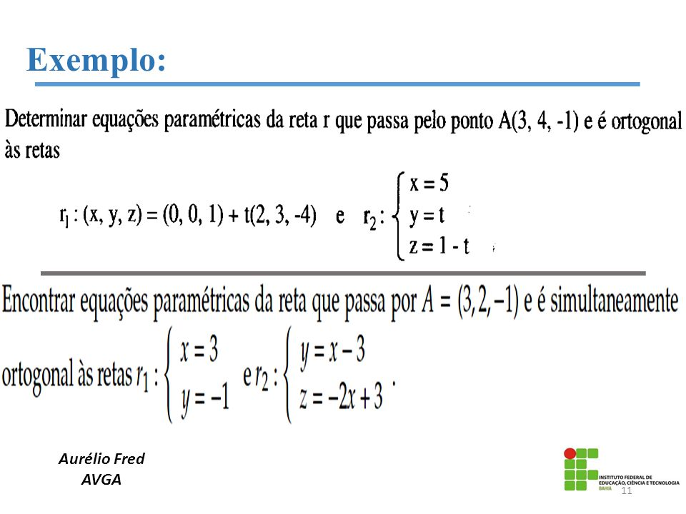 Aurélio Fred AVGA Exemplo: 11